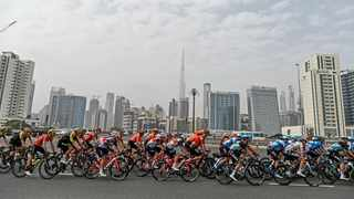 The pack pedals during the fourth stage of the tour of United Arab Emirates cycling race on Wednesday, February 26, 2020. Photo: Massimo Paolone/LaPresse via AP