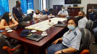 A delegation led by the Nelson Mandela Bay (NMB) District Commander, Policing, Brigadier Ronald Koll accompanied by the Commissioner of NMB Metro Police, Yolande Faro and her team visited the Durban Central police station to exchange and gain best practices relating to the safety of citizens using the pristine beaches in both provinces. Picture: Supplied.