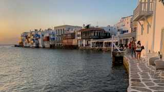 Little Venice on the Greek island of Mykonos on Tuesday. Picture: AP Photo/Derek Gatopoulos