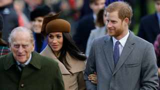 Prince Philip, Meghan Markle, and Prince Harry arrive at St. Mary Magdalene Church. Picture: Alastair Grant/AP