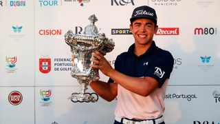 South Africa's Garrick Higgo poses with the trophy after winning the Open de Portugal on Sunday. @EuropeanTour/Twitter