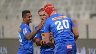 Stormers players celebrate during the 2021 Preparation Series game against the Lions at Cape Town Stadium. Photo: Ryan Wilkisky BackpagePix