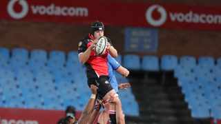 Francke Horn of the Lions wins a line out during the 2021 Rainbow Cup match against the Bulls. Photo: Samuel Shivambu/BackpagePix