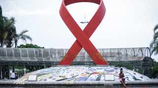 KZN to observe the World Aids Day, this huge ribbon is sculptured at the Gugu Dlamini Park in the Durban CBD .Picture : Motshwari Mofokeng /African News Agency (ANA)