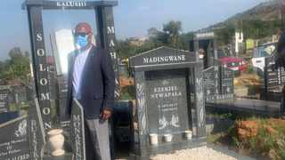 Miinster of Sport , Atrs and Culture Nathi Mthethwa at the grave site of Solomon Mahlangu in Mamelodi west cemetery. Picture: Sakhile Ndlazi