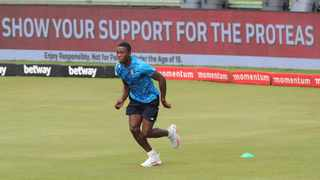South Africa's Kagiso Rabada takes part in a warming up sessrion ahead of the first Test against Sri Lanka, which he didn't play in. Photo: Samuel Shivambu/BackpagePix