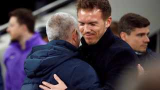 RB Leipzig coach Julian Nagelsmann embrace Tottenham Hotspur manager Jose Mourinho before their Champions League match last season. Picture: Andrew Boyers/Reuters
