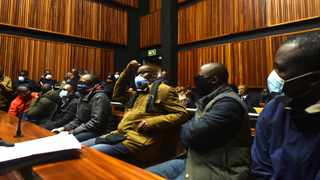 A group of men allegedly implicated in the multi-billion-rand heist of VBS Mutual Bank at a previous appearance in the Palm Ridge Regional Court. Picture: Itumeleng English/African News Agency(ANA)