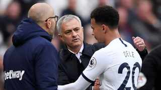 Tottenham Hotspur's Dele Alli speaks with Tottenham Hotspur manager Jose Mourinho after he is substituted off during their Premier League game against West Ham United at the London Stadium on Saturday. Photo: Tony O'Brien/Reuters