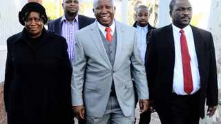 20/06/2013 Former ANCYL president, Julius Malema arrive at the Polokwane High court accompanied by Floyd Shivambu (back left) Picture: Phill Magakoe
