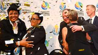 Netball South Africa president Cecilia Molokwane (left) celebrates SA winning the Netball World Cup bid with (then) Minister of Sport Tokozile Xasa (right). Photo: Phando Jikelo/African News Agency/ANA