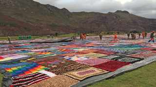 Prisoners from Drakenstein Correctional facility made the world's largest blanket. Picture: Bertram Malgas/Daily Voice