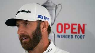 Form has Dustin Johnson as the hot favourite to be holding the US Open trophy on Sunday but history is a major red flag for the big-hitting world number one. Picture: John Minchillo/AP Photo