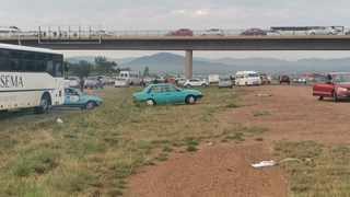 Traffic was heavily backed up when taxi operators used their vehicles to cause a go slow on the N1. Picture: @crimeairnetwork Twitter