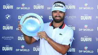 Frenchman Antoine Rozner fired seven birdies and landed a superb eagle on the par-five 13th on his way to winning the Dubai Championship on Saturday. Photo: @EuropeanTour/Twitter