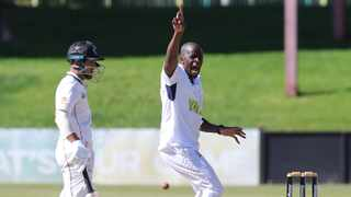 Alfred Mothoa of the Knights reacts after bowling during the CSA 4-Day 2020/21 match between Knights and Dolphins at Mangaung Oval, Bloemfontein, on 10 November 2020. Photo: Samuel Shivambu/BackpagePix