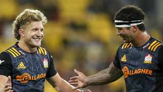 Damian McKenzie and the Chiefs celebrate their win over the Hurricanes. Picture: www.superrugby.co.nz