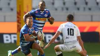 Herschel Jantjies of the Stormers runs at Curwin Bosch of the Sharks during their Rainbow Cup SA game at Cape Town Stadium on Saturday. Photo: Ryan Wilkisky/BackpagePix