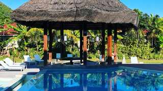 The pool area of Les Laurier eco hotel on Praslin Island in the Seychelles.