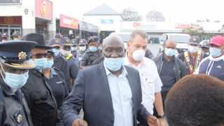 Police Minister Bheki Cele, who has been vocal about enforcing the ban on cigarettes and alcohol during the lockdown, seems to be wearing his mask incorrectly. Picture: African News Agency (ANA)