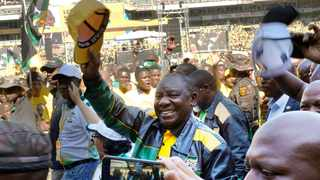 African National Congress president Cyril Ramaphosa greets supporters as he arrives at the Ellis Park stadium for the party's final election rally in May 2019. File picture: Jerome Delay/AP