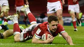Wales' Kieran Hardy scores their third try during their Six Nations game against England in Cardiff. Photo: Rebecca Naden/Reuters