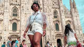 Boity in front of the Duomo di Milano, one of the city's most favourite tourist attractions. Picture: Instagram