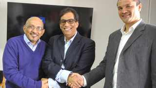 cape town - 160816 - Aziz Hartley, Doc Iqbal Surve and Carlo Petersen at the announcement of Sunday Argus Editor as Aziz and Senior Editor Carlo at cape times. pic courtney africa