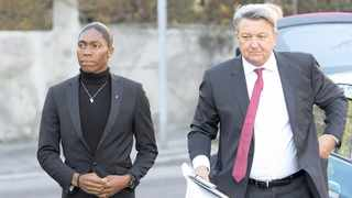 Caster Semenya arrives with her lawyer Gregory Nott for the first day of her hearing at the international Court of Arbitration for Sport (CAS) in Lausanne, Switzerland, 18 February 2019. Photo: Laurent Gillieron/EPA-EFE