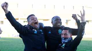 Benni McCarthy celebrates with his coaching staff following their win over Golden Arrows. Picture: Steve Haag Sports/BackpagePix