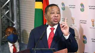 Minister of Higher Education, Science and Innovation, Dr Blade Nzimande briefs media on progress in the implementation of COVID19 measures in the Post School Education and Training Sector at Ronnie Mamoepa Press Room. Picture: Jairus Mmutle/GCIS