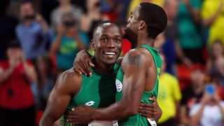 Akani Simbine of South Africa (left, gold) and Henricho Bruintjies of South Africa (right, silver) celebrate their respective medal wins in the Men's 100m final of the XXI Commonwealth Games, at the Gold Coast, Australia, 09 April 2018. Photo: EPA-EFE/Dean Lewins/AFRICAN NEWS AGENCY (ANA)