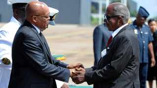 Former President Jacob Zuma with Andrew Mlangeni at the Second Military Medals Parade at the Waterkloof Airbase in Pretoria.