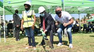 Mayor Randall Williams, with MMC for Community and Social Development Services Thabisile Vilakazi and retired football star Mark Fish, during the sod-turning event to mark the start of the rebuilding of the Caledonian Stadium. Picture: Thobile Mathonsi African News Agency (ANA)
