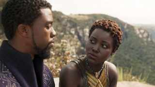Nakia (Lupita Nyong'o) talks of what type of king T'Challa (Chadwick Boseman) can be for Wakanda, in 'Black Panther'. Picture: Marvel Studios.