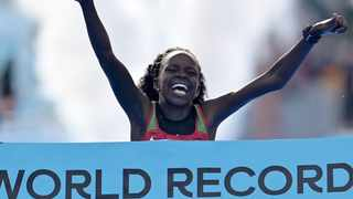 Kenyan Peres Jepchirchir is rapidly becoming one of the greats of women's distance running. Photo: @DailyFeed18 on twitter