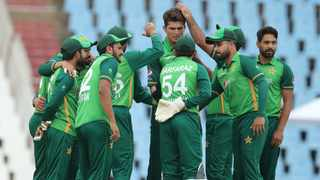 Shaheen Shah Afridi of Pakistan celebrates with teammates following the wicket of Aiden Markram in the third ODI against South Africa. Picture: Samuel Shivambu/BackpagePix
