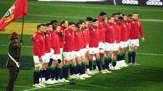 British and Irish Lions players seen at the anthem ceremony during the 2017 tour in New Zealand. Photo: Raghavan Venugopal/www.Photosport.nz