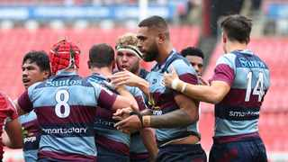 FILE - Angus Scott Young of the Reds encourages teammates during the 2020 Super Rugby match against the Lions. Photo: Gavin Barker/BackpagePix