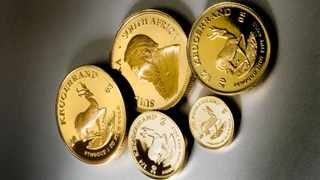 030608: 2008 Kruger National park Krugerrand Set- 110 year anniversary. Consists of 4 x 22 carat gold coins, 1oz, 1/2oz, 1/4oz and 1/10oz and a silver medallion presented in an African Rosewood box with a hand embroidered lid. Box not shown 010608 Picture: Handout/Supplied