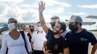 Brazilian pilot Antonio Sena after being rescued in Santarem, Para State, north of Brazil. Picture: Marcelo SEABRA / Brazil's Para State Government / AFP).