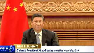 China's President Xi Jinping addresses the 12th BRICS summit via video link. Screengrab: CTGN