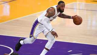 Los Angeles Lakers forward LeBron James takes the ball down court in the game against the Golden State Warriors. Picture: Jayne Kamin-Oncea/USA TODAY Sports via Reuters