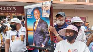 Supporters of Prophet Shepherd Bushiri and his wife Mary at the Pretoria Magistrate's Court. Picture: Goitsemang Tlhabye