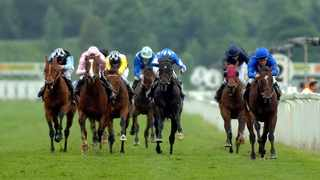 Australian jockey Kerrin McEvoy steers home Shamardal, right, to win the St James' Palace Stakes at the Royal Ascot on Tuesday June 14, 2005. Photo: AP Photo/Paul Ellis