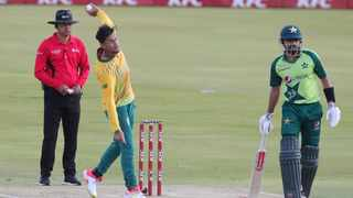 FILE - Bjorn Fortuin of South Africa bowls during the 2021 KFC T20 match against Pakistan. Photo: Samuel Shivambu/BackpagePix