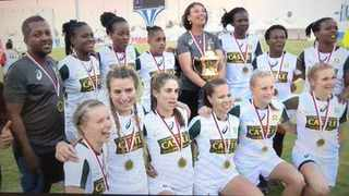 The victorious Springbok women's pose with their medals. Photo: @WomenBoks via Twitter