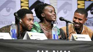 Chadwick Boseman, from left, Lupita Nyong'o, and Michael B. Jordan attend the Marvel panel on day 3 of Comic-Con International on Saturday, July 22, 2017, in San Diego. Picture: Richard Shotwell/Invision/AP