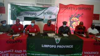 Limpopo health unions at a media briefing yesterday are adamant that they will embark on strike action on Monday. Picture: Mashudu Sadike