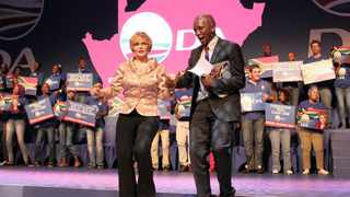 621 24/11/2012Leader Helen Ville and National spokesperson Mmusi Maimane dance in a stage in 2012 DA Federal congress at birchwood hotel in Boksburg yesterday, The Leader Helen Ville after she addressed the federation in the first day.Picture: Motshwari Mofokeng